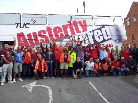 the TUC anti-austerity bus blocking the Bridgwater Delivery Office gate with 60 pickets!