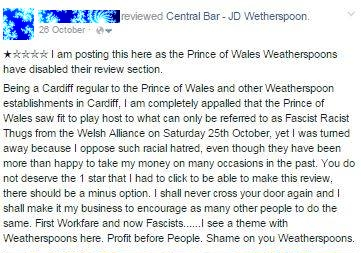 Pubs to avoid: Prince of Wales, St Mary's Street, Cardiff, welcomes fascists and turns away the opposition.