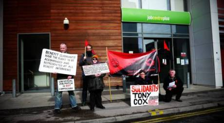 Activists from Dorset IWW and Dorset Peoples Assembly as well as unaligned comrades outside Bournemouth Job Centre in support of Tony Cox Photograph courtesty of Haydn Wheeler