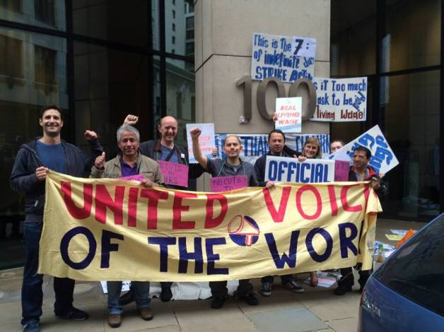 United Voices of the World cleaners on indefinite strike at 100 Wood Street