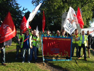 Workers at a previous strike at Fawley